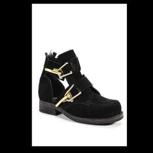 Jeffrey Campbell cutout Coltrane suede black boots